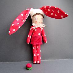 Bunny Doll Toy Cloth Rag Doll Fabric raspberry por thedollsunique, $45.00