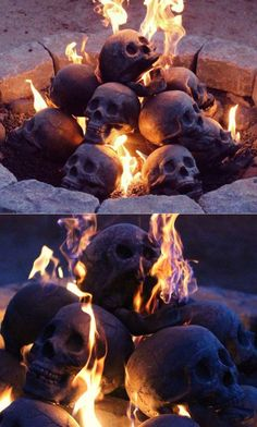 Human Skull Fire Gas Log for Natural Gas  Liquid Propane  Wood Fire Fireplace & Fire Pit #geekyitem