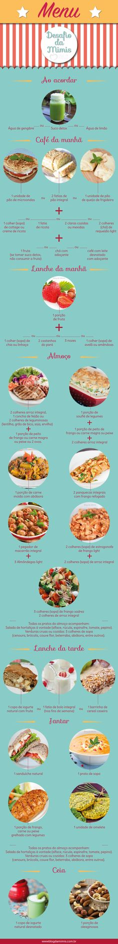 Cardápio simples para iniciar a reeducação alimentar [ mimi's menu in http://blogdamimis.com.br/ ]