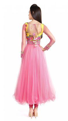 Anushree Reddy's Pink and Yellow Floral Anarkali - JIVA