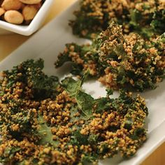 Crispy Peanut Kale Chips (I replaced the peanuts with almonds). Really good healthy snack.