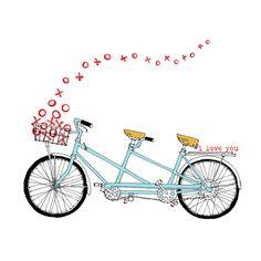 Tandem XO - tandem bike love card - valentine card. $3.00, via Etsy.