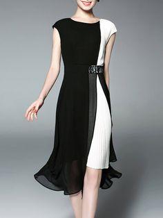 GYALWANA Pleated Chiffon Color-block Casual Sleeveless Midi Dress Women