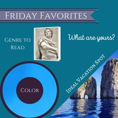 What is your favorite genre to read, color and ideal vacation spot?   I love hist NF as much as I love HistFic, but I think I like NF more because it was what actually happened. I'm a realist haha  Favorite color is cerulean blue. It was one of my wedding colors :)   I saved up for a year and took a two-week trip to Italy with one of my bffs (back when we were young and single), and I have to say: the island of Capri is my real and dream vacation spot. Would love to go there again one day.