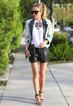 Faux Leather Shorts + Blazer + Statement Necklace #SSCHI #SimplyStylistPanelist