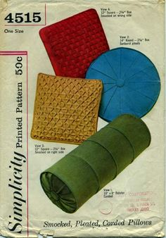 """Vintage Sewing Pattern for Smocked, Pleated, Corded Pillows 