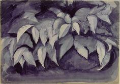 John Ruskin, A Study in Violet Carmine of Bay Leaves Ashmolean Museum, University of Oxford