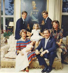 thegreekroyals:  Christening of Prince Philippos, 1986-front-Queen Anne-Marie holding Philippos and King Constantine; back-Crown Prince Pavlos, Princess Theodora, Prince Nikolaos, Princess Alexia