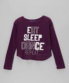 Look at this #zulilyfind! Eggplant 'Eat Sleep Dance' Hi-Low Tee - Girls #zulilyfinds