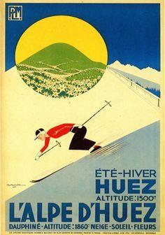 'Art Deco era vintage Swiss Alps sport ad' Poster by Glimmersmith Ski Vintage, Vintage Ski Posters, Vintage Advertising Posters, Art Deco Posters, Vintage Advertisements, Vintage Sport, Retro Posters, Vintage Winter, Alpe D Huez