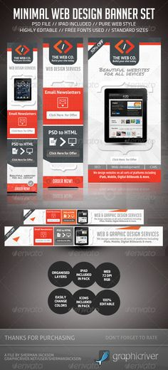 Minimal Web Design AD Banner Set  - Great Web Banners to boost and attract attention towards your business venture.