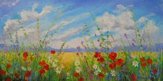 'Flowers in a field' (2016) Oil on Canvas Painting, One-of-a-kind Artwork by Olha Darchuk | D:100x50x2cm - signed on front | avail Artfinder ♥•♥•♥