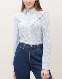 At Stradivarius you'll find 1 Shirt with frill trim for woman for just 2590 RSD . Visit now to discover this and more CLOTHING.