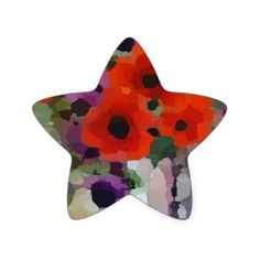 Beautiful Red Poppies Star Sticker - floral style flower flowers stylish diy personalize