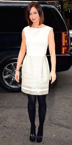 EMILY BLUNT  The Five Year Engagement star balances a textured ivory sheath with black tights and platform pumps to visit The Today Show in N.Y.C.