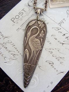 Necklace Blue Heron Bird - Quiet Beauty - Vintage Brass Blue Heron Arts and Crafts Period by Chloe's VIntage Jewelry