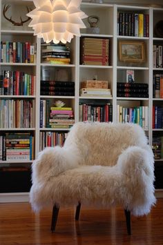 Love the bookshelves. Cozy sheepskin in a carpet or throw rug might be better.
