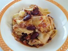 Maltagliati coi fagioli  home made pasta with beans and sausage fantastic in winter time