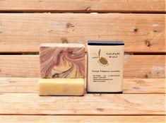 Sweet orange, petitgrain and lavender pure olive oil soap in box.