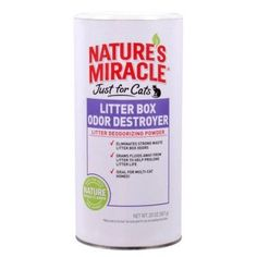 CAT STAIN AND ODOR CONTROL - NATURE'S MIRACLE JUST FOR CATS LITTER BOX ODOR DESTROYER POWDER - 20OZ - UPG-COMPANION ANML EDWRDSVILLE - UPC: 18065058577 - DEPT: CAT PRODUCTS