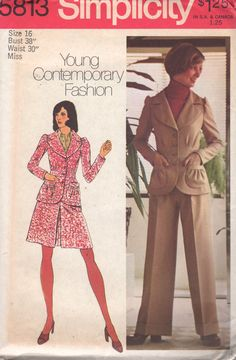 Simplicity 5813 1970s Misses Suit Inverted Pleat Skirt Tucked Jacket and Cuffed Pants womens vintage sewing pattern by mbchills