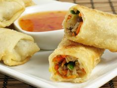 6 of the Best Egg Roll Recipes You Can Make at Home  -  not authentic chinese, variations on the theme.  can be used as a snack, app or meal.  savory and one sweet recipe.  veggies, beef, pork, chicken, fruit.  crispy, want.     lj
