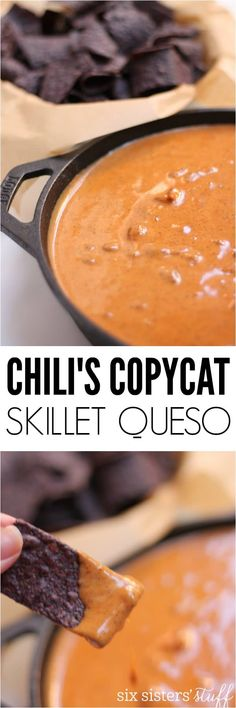 Chili's Copycat Skillet Queso - Six Sisters' Stuff This Chili's Copycat Skillet Queso Recipe is quick, simple, full of flavor and the perfect appetizer. If you are more of a savory person, you will go crazy for this dip. You can make it as mild or as spicy as you'd like. Queso Recipe, Salsa Recipe, Appetizers For Party, Appetizer Recipes, Delicious Appetizers, Football Food, Unique Recipes, Restaurant Recipes, Mexican Food Recipes