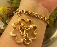 VTG MARVELLA Gold GP Pearl Charm Bracelet Lion Passant Designer Signed Jewelry #Marvella #CharmVINTAGELionPassantDESIGNERJewelry