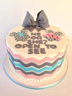 Chevron Gray, Pink and Blue Gender Reveal Cake
