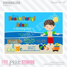 BEACH BOY Party INVITATION or Thank You Card by PinkPickleParties, $10.00