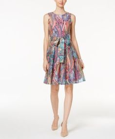 TOMMY HILFIGER Tommy Hilfiger Paisley-Print Fit &Amp; Flare Dress. #tommyhilfiger #cloth # dresses
