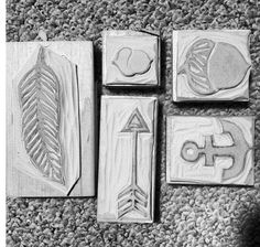Carved stamps out of speed ball speedy carve      DIY rubber stamp.   Feather stamp, arrow stamp, anchor stamp, acorn stamp.