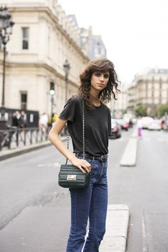 black tee & denim. #AntoninaPetkovic #offduty in Paris.