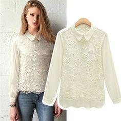 """Style: Fashion   Material: Chiffon / Lace   Color: Black / White   Size: S / M / L / XL / XXL  S: Bust:86CM (33.86"""") Shoulder:32CM(12.60"""") Sleeve Length:57CM(22.44"""") Length:67-74CM(26.38"""" to 29.13"""") Waist:80CM(31.50"""") M: Bust:90CM (35.43"""") Shoulder:33CM(12.99"""") Sleeve Length:58CM(22.83"""")..."""