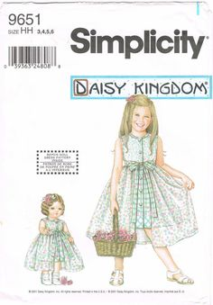 "Simplicity 9651 - 2000s Sewing Pattern - Daisy Kingdom -  Child's And Girls Dress With Detatchable Overskirt And Doll Dress For 18"" Doll"