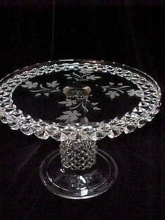 ANTIQUE VICTORIAN EAPG GLASS PEDESTAL CAKE STAND PLATE ETCHD TEA LEAF ~EXCELLENT