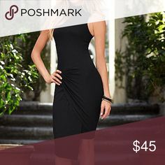 🆕 Black Ruched Dress This dress is ruched in the front, is higher in front than back, has keyhole opening in back with 3 buttons at top. Viscose / elastane material. Dresses High Low