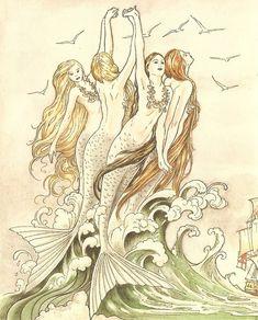 s598 FABRIC PRINT MERMAIDS Quilt Fabric Block Mermaids Quilts Applique Quilting…