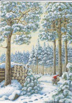 Художница - Marja-Liisa Pitkaranta Christmas Illustration, Illustration Art, Merry Berry, Christmas Gnome, Xmas, Mythological Creatures, Gnome Garden, Vintage Greeting Cards, Magical Creatures