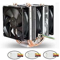 3 fans, 90mm fan, 4 heatpipe, dual-tower, LGA775/1150/1155, AM2+/AM3+/FM1/FM2, CPU radiator, CPU Fan, CoolerBoss CAH-409-09