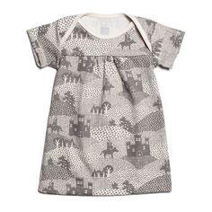 Short-Sleeve Rocking Horse Baby Dress - Knights & Dragons Grey
