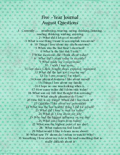 Cup of Delight: DIY Five Year Journal August Questions