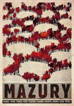 autumn poster Masuria - Autumn, Polish Poster by Ryszard Kaja Art Deco Posters, Poster Prints, Polish Movie Posters, Polish Folk Art, Railway Posters, Japanese Graphic Design, Exhibition Poster, Graphic Design Posters, Typography Prints