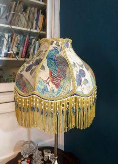 Painting Lamp Shades, Paint Shades, Mason Jar Chandelier, Diy Chandelier, Lamp Redo, Victorian Fabric, I Love Lamp, Handmade Lamps, Shabby Chic Crafts