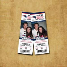 Printable Save the Date Ticket - Any Sports Team - Engagement Announcement. $12.00, via Etsy.