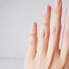 Sterling Silver Dainty Heart Band Ring in USA 2 UK D/ thin everyday midi ring/ skinny upper knuckle ring/ gift ideas by libiclozet