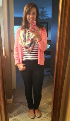 A Little Bit of Cheer: Mom Style Files ~ Volume 2. Easy outfit formula = jeans, striped tee, scarf, cardigan.
