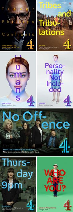 Channel 4 has launched a refresh of its branding, centred around a bold new take on its classic logo. Featuring idents from Jonathan Glazer and two new fonts from Neville Brody, the new look is dynamic, playful and at times a little bit bonkers. Identity Design, Visual Identity, Identity Branding, Corporate Identity, Brochure Design, Jonathan Glazer, Neville Brody, Channel Branding, Poster Design