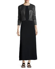 Cropped Leather Zip-Front Jacket & Statell Short-Sleeve Cady Midi Dress by THE ROW at Bergdorf Goodman.