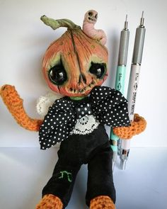 Pumpkin Pi a Curious Creature by Sam Crow Creature 3d, 3d Illustrations, Curious Creatures, Creepy Cute, Doll Maker, Forest Animals, Crow, Art Dolls, Disney Characters